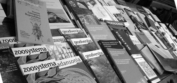 wissenschaftliche Fachzeitschriften in der Auslage