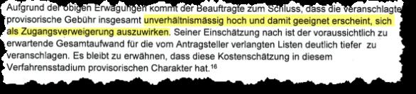Unverhältnismässig hohe Gebühren: Kritik des Öffentlichkeitsbeauftragten an der Praxis der Bundeskanzlei.