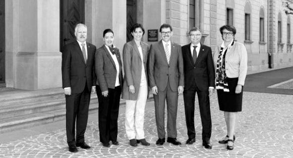 Le gouvernement thurgovien et son président Jakob Stark (au centre): des scénarios éloignés de la réalité.