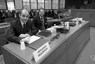 Le Comité d'Helsinki lors des débats devant la Grande chambre de la Cour de Strasbourg.